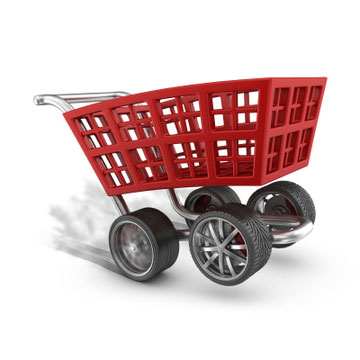 Speeding shopping cart with tyres