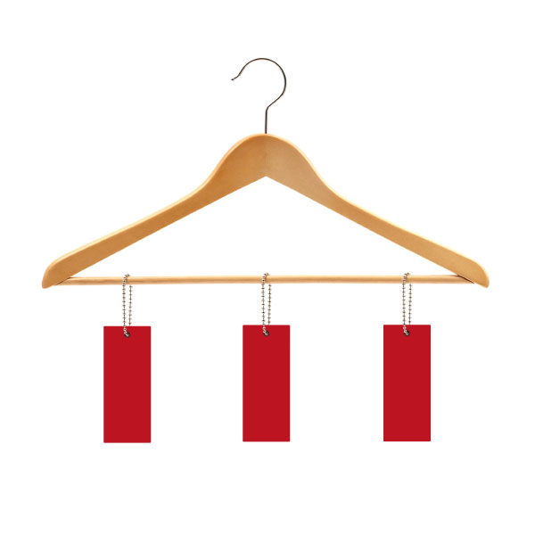 Clothes hanger with price tags